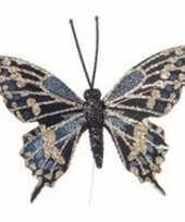 Kerstboomhanger kersthanger blauw gouden vlinders 6 cm op ijzerdraad steker