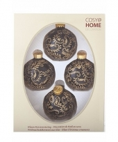 Kerstboomversiering ballen zwart goud 4 stuks van glas 10091130