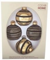 Kerstboomversiering ballen zwart goud 4 stuks van glas