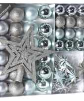 Kerstboomversiering kerstballen set zilver ijsblauw 45 delig