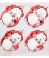 Kerstboomversiering pinguin ballen rood 4 stuks
