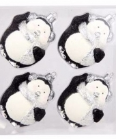 Kerstboomversiering pinguin ballen zwart 4 stuks