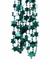 Kerstboomversiering ster kralenketting smaragd groen 270 cm