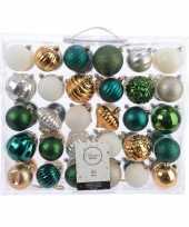 Kerstdecoratie set kerstballen groen goud zilver wit 60 delig