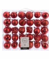 Kerstdecoratie set kerstballen rood 60 delig