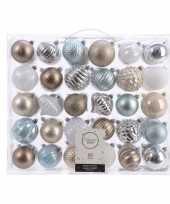 Kerstdecoratie set kerstballen zilver champagne blauw bruin 60 delig