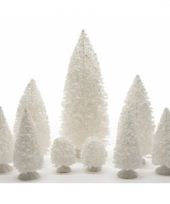 Kerstdorp besneeuwde bomen 9 stuks