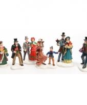 Kerstdorp figuren winkelende mensen