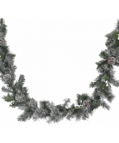 Kerstguirlande met jute versiering wit