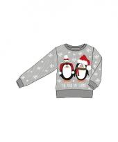 Kerstmis grijze kindertrui met pinguin print