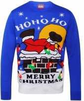 Kerstmis trui blauw met licht voor dames en heren