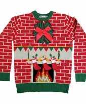 Kerstmis trui met openhaard en lichtjes