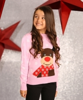 Kerstmis trui roze met rendier voor meisjes