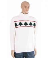 Kerstmis trui wit met kerstbomen