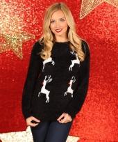 Kerstmis trui zwart met rendieren