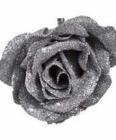 Kerstroos op clip zilver met glitter 9 cm
