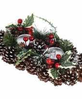 Kerststukje krans met standaard 34 cm