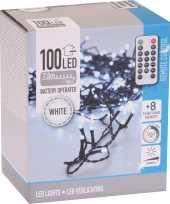 Kerstverlichting op batterijen inclusief afstandsbediening helder koel wit 100 lichtjes