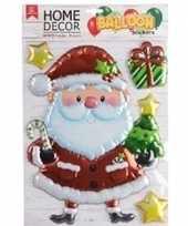 Kerstversiering raamsticker kerstman en sterren 28 x 41 cm folie