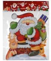 Kerstversiering raamsticker kerstman rendieren 3d 34 cm