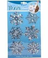 Kerstversiering raamsticker zilveren sneeuwvlok ijsster ijsbloem 19 x 30 cm