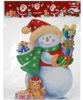 Kerstversiering raamstickers sneeuwpop 3d 34 cm