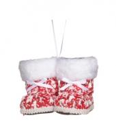 Kerstversiering sokjes kerstprint 10 cm