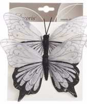 Kerstversiering vlinders lila set van twee type 1