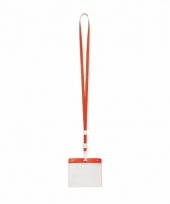 Keycord incl badgehouder voor aan een keycord rood 11 2 x 58 cm