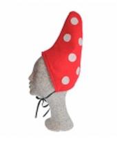 Kinder kabouter mutsje rood met witte stippen