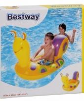 Kinder opblaasbaar bootje slak geel 163 cm