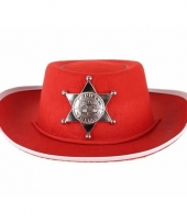 Kinder sheriff hoed rood