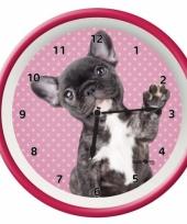 Kinder wandklok roze franse bulldog