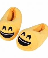 Kinderen lachende smiley pantoffels