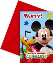 Kinderfeestje uitnodigingen mickey mouse 6 stuks