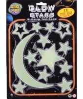 Kinderkamer decoratie plastic sterren maan geel 13 stuks glow in the dark