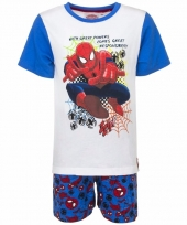 Kinderpyjama spiderman wit blauw