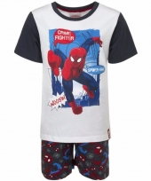 Kinderpyjama spiderman wit zwart