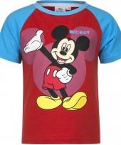 Kindershirt mickey mouse blauw met rood