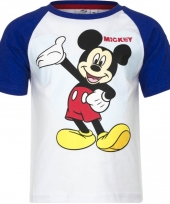 Kindershirt mickey mouse blauw met wit