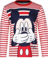 Kindershirt mickey mouse wit met rood