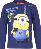 Kindershirt minion carl blauw