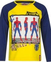 Kindershirt spiderman geel met blauw