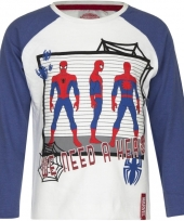 Kindershirt spiderman wit met blauw