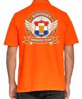 Kingsday drinking team poloshirt oranje voor heren