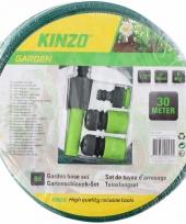 Kinzo tuinslang met sproeikop set 30 meter groen zwart