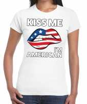 Kiss me i am american t-shirt wit dames