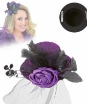 Klein hoedje paars met roos