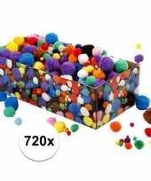 Kleine gekleurde pompons assortiment 720 stuks