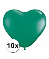 Kleine groene hartjes ballonnen 10 stuks
